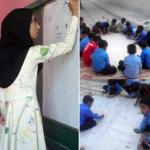 مانتوی متفاوت خانم معلم خلاق در روستای قشم